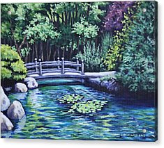 Acrylic Print featuring the painting Japanese Garden Bridge San Francisco California by Penny Birch-Williams