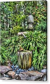 Japanese Garden Fountain Acrylic Print by Heidi Smith