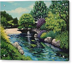 Acrylic Print featuring the painting Japanese Garden Fountain View by Penny Birch-Williams
