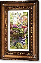 Japanese Garden In Vintage Frame Acrylic Print