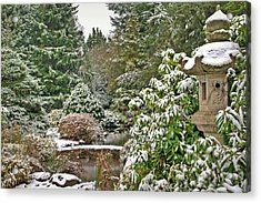 Acrylic Print featuring the photograph Japanese Garden Snowfall by Jeff Cook