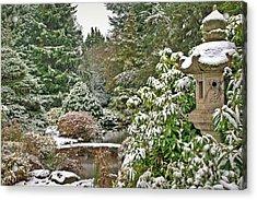 Japanese Garden Snowfall Acrylic Print by Jeff Cook