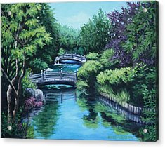 Acrylic Print featuring the painting Japanese Garden Two Bridges by Penny Birch-Williams
