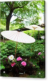 Japanese Garden With Pione Acrylic Print by Olgaza