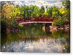 Japanese Gardens Bridge Acrylic Print by Debra and Dave Vanderlaan