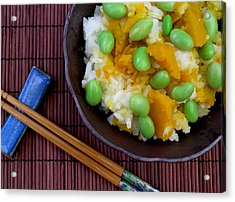 Japanese Kabocha Squash Rice With Edamame Acrylic Print by James Temple