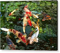 Japanese Koi Fish Pond Acrylic Print by Jennie Marie Schell