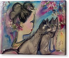Japanese Lady And Felines Acrylic Print by Judith Desrosiers