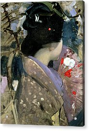 Japanese Lady With A Fan Acrylic Print by George F Henry