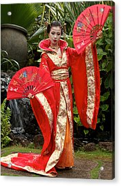 Japanese Lady With Fan Acrylic Print by Bonita Hensley