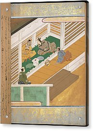 Japanese Men Eating Acrylic Print by British Library