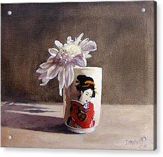 Japanese Saki Cup With Chrysanthemum Acrylic Print by Kathryn Donatelli