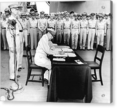 Japanese Surrender Ceremony Acrylic Print by Underwood Archives