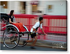 Japanese Tourists Ride Rickshaw In Tokyo Japan Acrylic Print