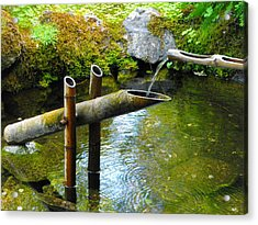 Japanese Water Fountain Acrylic Print by Phyllis Britton