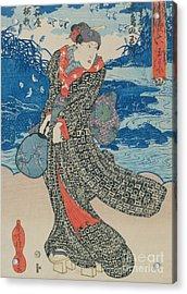 Japanese Woman By The Sea Acrylic Print by Utagawa Kunisada