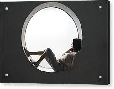 Japanese Woman Leaning On The Window Acrylic Print by Shuji Kobayashi