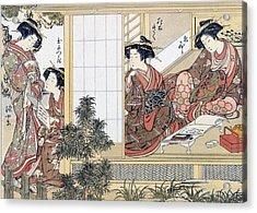 Japanese Women Reading And Writing Acrylic Print by Katsukawa Shunsho