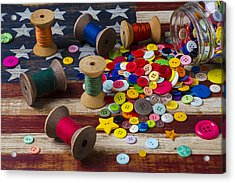 Jar Of Buttons And Spools Of Thread Acrylic Print by Garry Gay