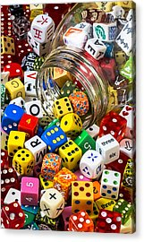 Jar Of Colorful Dice Acrylic Print by Garry Gay