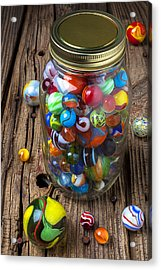 Jar Of Marbles With Shooter Acrylic Print by Garry Gay