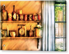 Jars - Kitchen Shelves Acrylic Print by Mike Savad