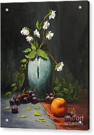 Acrylic Print featuring the painting Jasmine And Peach by Carol Hart