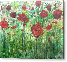 Acrylic Print featuring the painting Java Poppy Field by Christy  Freeman