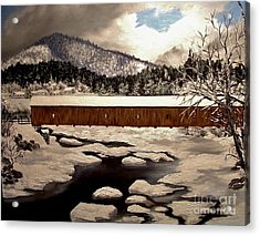 Jay Covered Bridge Acrylic Print by Peggy Miller