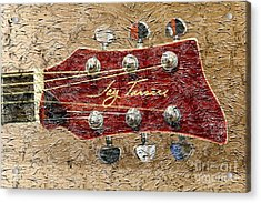 Jay Turser Guitar Head - Red Guitar - Digital Painting Acrylic Print by Barbara Griffin