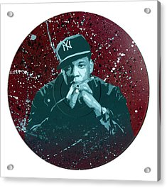 Jay-z Stencil Art On An Upcycled Vinyl Record Acrylic Print by Tim Kravel