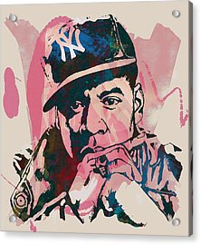Jay-z Stylised Etching Pop Art Poster Acrylic Print by Kim Wang