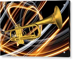 Jazz Art Trumpet Acrylic Print by Louis Ferreira