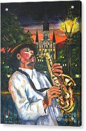 Jazz By Street Lamp Acrylic Print
