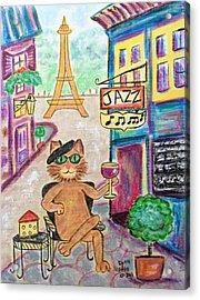 Jazz Cat Acrylic Print by Diane Pape