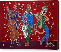 Jazz Cat Trio Acrylic Print by Cynthia Snyder