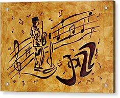 Jazz Coffee Painting Acrylic Print by Georgeta  Blanaru