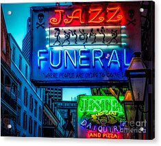 Jazz Funeral And Jester On Bourbon St. Acrylic Print