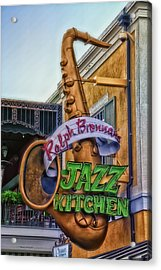 Jazz Kitchen Signage Downtown Disneyland Acrylic Print by Thomas Woolworth