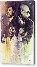 Jazz Legends Parker Gillespie Armstrong  Acrylic Print by Yuriy  Shevchuk