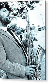 Jazz Musician Busker Playing Saxophone Acrylic Print