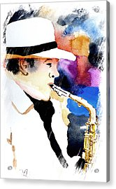 Acrylic Print featuring the painting Jazz Player by Steven Ponsford