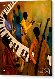 Jazz Quintet And Friends Acrylic Print by Larry Martin