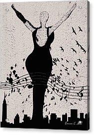 Jazzinthesky Acrylic Print by Romaine Head