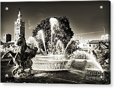 Jc Nichols Memorial Fountain Bw 1 Acrylic Print