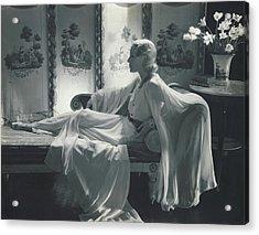 Jean Barry Wearing A Jessie Franklin Turner Dress Acrylic Print