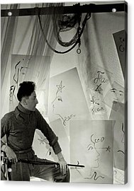 Jean Cocteau With A Cane And Drawings Acrylic Print