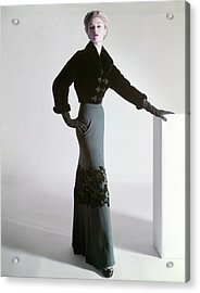 Jean Patchett Wears A Mainbocher Jacket Acrylic Print by Horst P. Horst