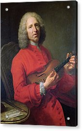 Jean-philippe Rameau 1683-1764 With A Violin Oil On Canvas Acrylic Print by Jacques Andre Joseph Camelot Aved