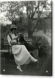Jeanne Eagels Sitting Down On A Park Bench Acrylic Print by Maurice Goldberg